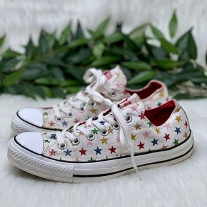 Converse White Rainbow Star Low Top Sneakers 9